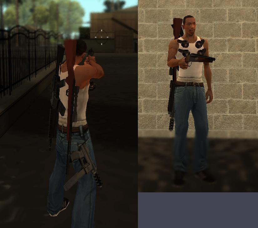 Ношение оружия за спиной [NO CLEO]