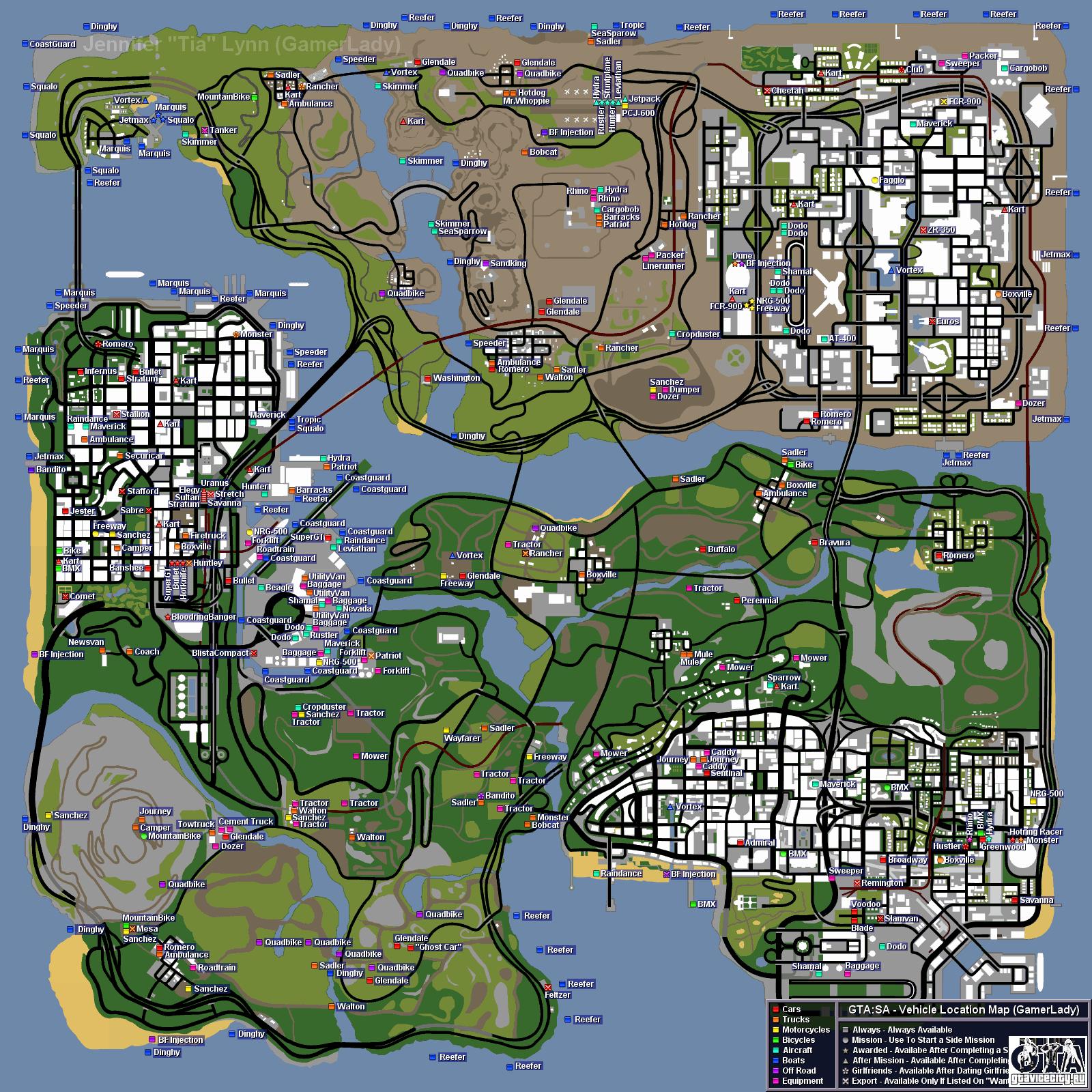 Карта расположения транспорта в GTA San Andreas